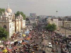 Un immeuble vert à Hyderabad