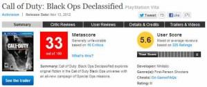 『Call of Duty: Black Ops: Declassified』メタスコア33点、ユーザースコアも振るわず。「駄作」との声も。