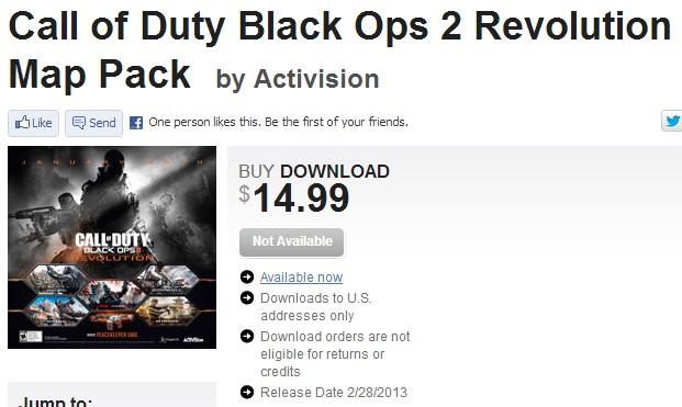 "[BO2] Black Ops 2:PS3&PC版""REVOLUTION""は2月28日に配信か"