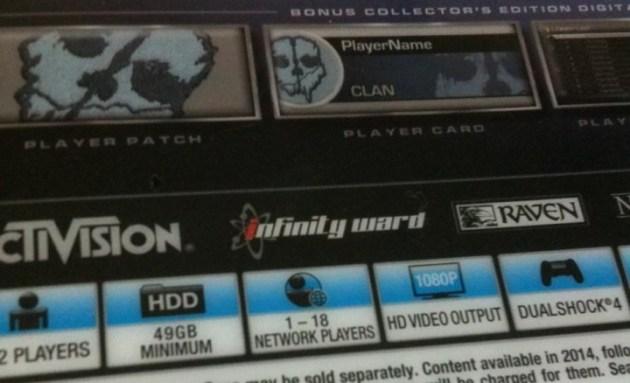 PlayStation 4版CoDゴーストパッケージ
