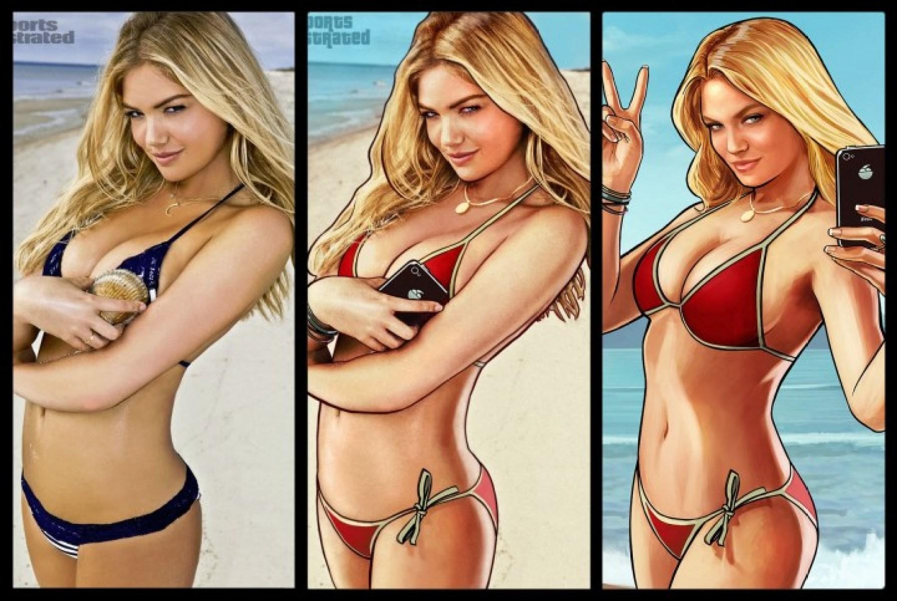 Grand Theft Auto V-GTA V-bikini_bodel-box_art-Kate Upton