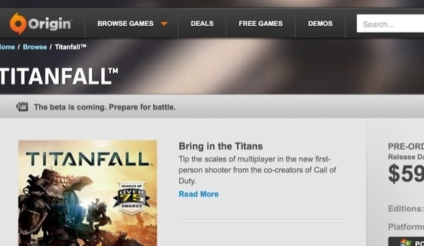 Titanfall βテストがもうすぐ開始か?Originストアにβ情報が記載、その後削除される