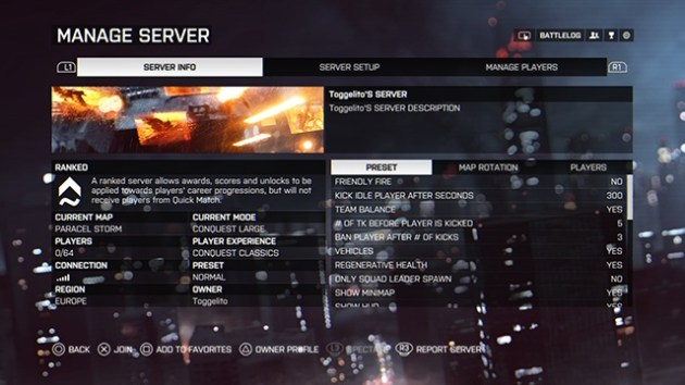 Battlefield 4  コンシューマー向けのサーバーレンタルが開始