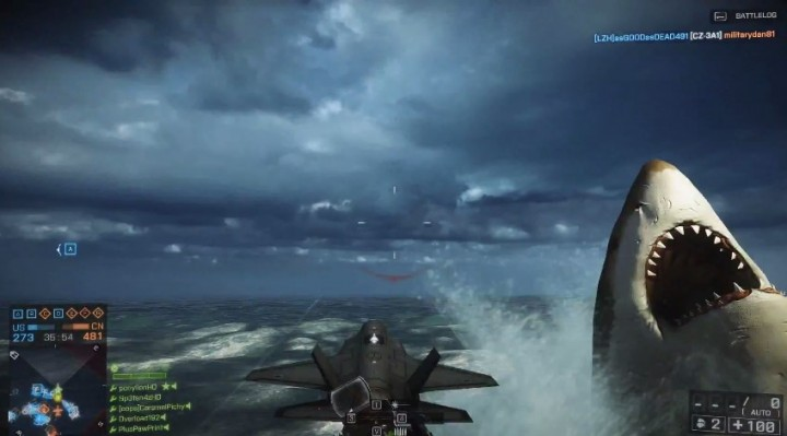 """BF4:""""怪物鮫メガロドン""""で敵機を破壊!高難易度のチャレンジ達成"""