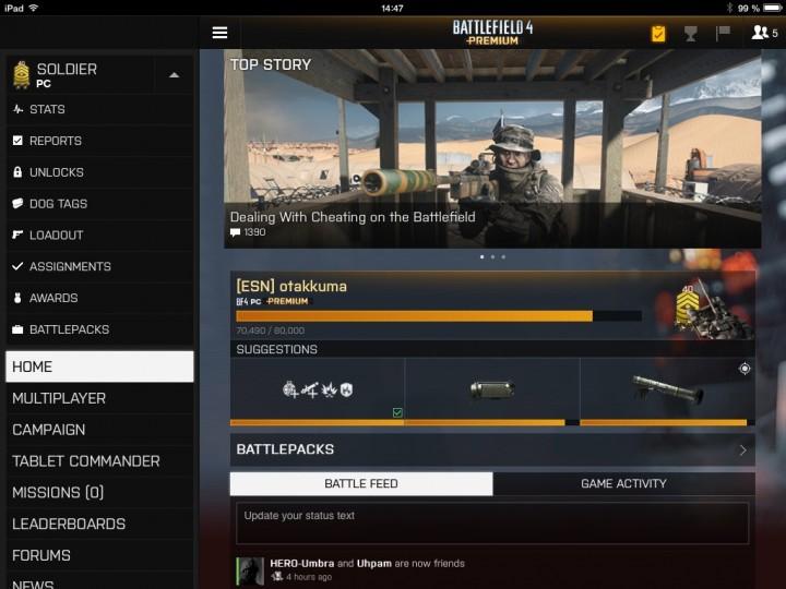 Battlefield 4 : Battlelogのタブレット用アプリが使いやすくアップデート