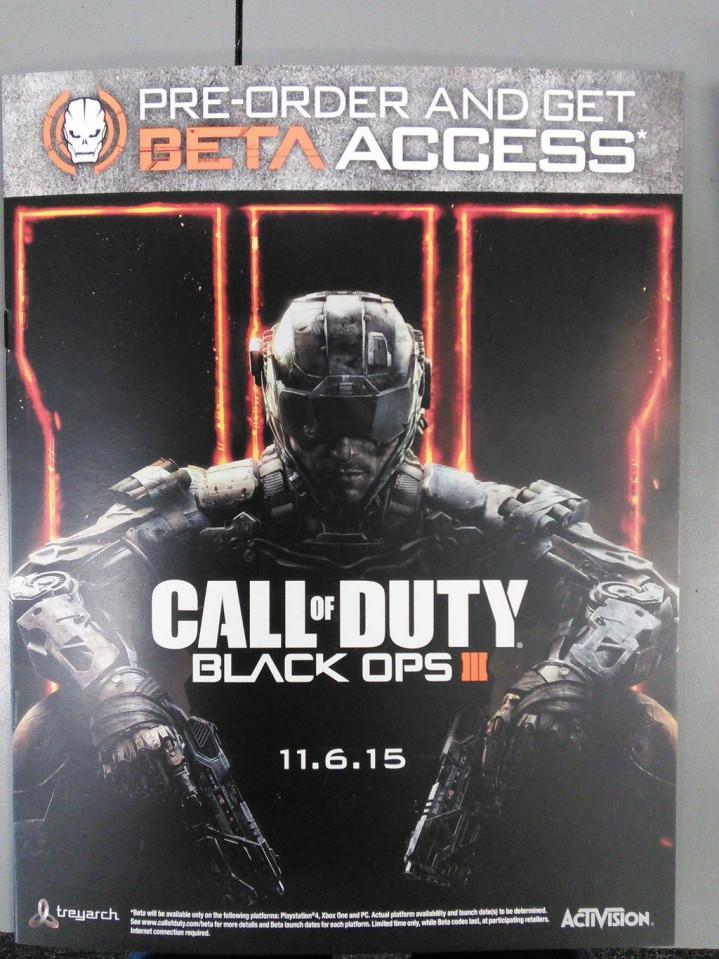 CoD:BO3:ポスターがリーク、発売日は11月6日でベータ先行アクセス