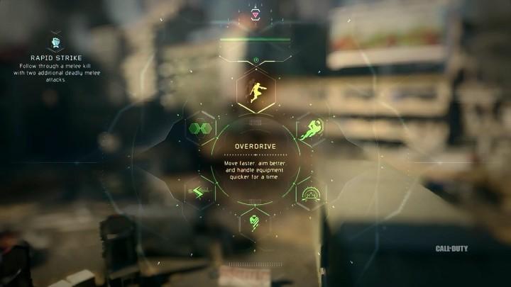 Overdrive:一定時間、移動速度の上昇、エイムの向上、武器のハンドリングの向上を行う。