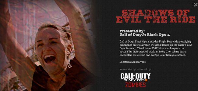 CoD:BO3:ゾンビモード「Shadows of the Evil」のアトラクションがロスのテーマパークに出現