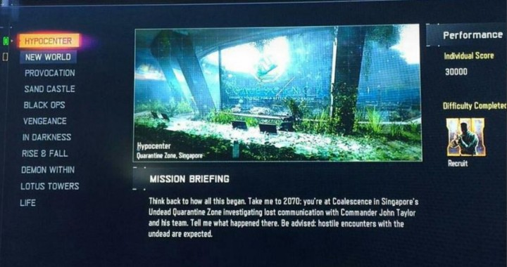 CoD:BO3:新モード「Nightmares(ナイトメア)」のミッション名11種がリーク