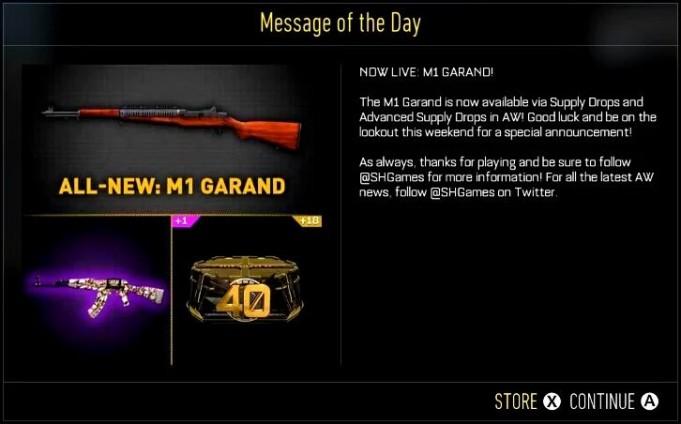 CoD:AW:新アサルトライフル「M1ガーランド」がサプライドロップへ追加、プレイ動画も(XB1)