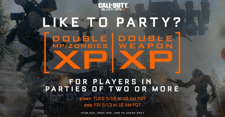 """CoD:BO3:""""パーティー限定""""のダブルXP & ダブル武器XP、間もなく開催"""