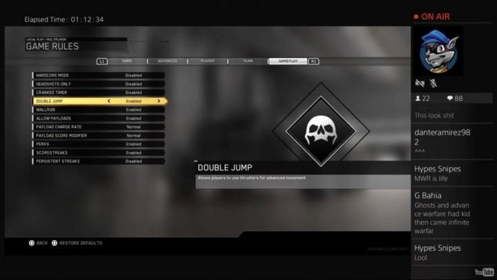 CoD:IW:カスタムゲームの柔軟な設定発表、ダブルジャンプやペイロードを無効化可能