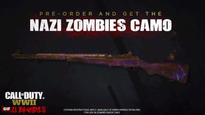 CoD:WWII: 「ナチゾンビ」のアニメーショーン武器迷彩発表、予約特典として配布