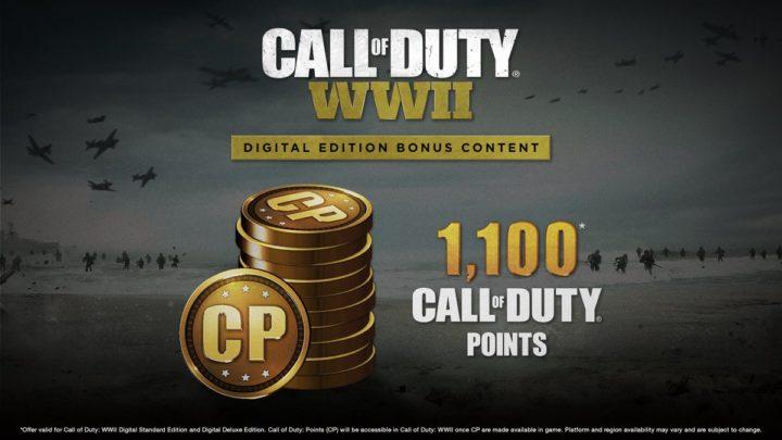 CoD:WWII: デジタル版の購入特典として1,100CODポイント付与が決定(海外)
