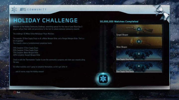 CoD:BO3:新コミュニティチャレンジ「マルチを5,000万回完了せよ」開始、最大でレアドロップ10個と武器確約賄賂