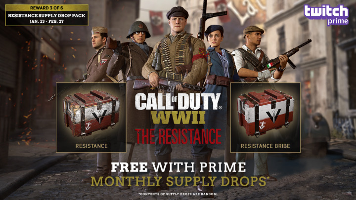 CoD:WWII:Twitch Prime会員向け特典第3弾配布、豪華な「レジスタンス賄賂」サプライドロップなど