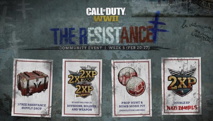 CoD:WWII: 兵士・武器・師団・ゾンビのダブルXPが全プレイリストで開催へ