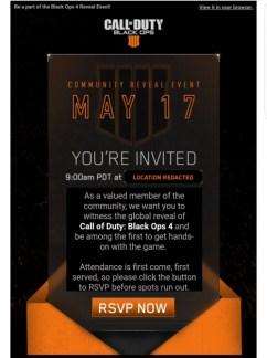 CoD:BO4:5月17日のお披露目イベントにファンをランダムでサプライズ招待中