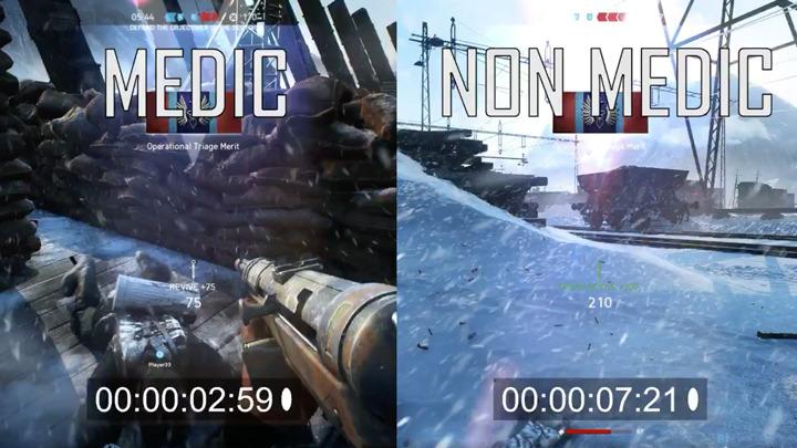 BF5:看護兵と非看護兵の蘇生スピード比較映像、約3秒圧勝
