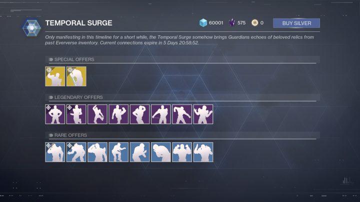 "Destiny 2: 過去の感情表現を期間限定で購入できる""TEMPORAL SURGE""が実装、エキゾチックには独自のエフェクトを追加"