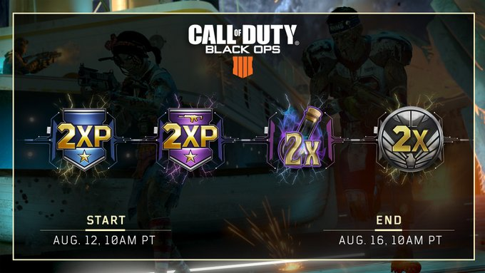 CoD:BO4:「クアッドフィードイベント」ダブルXP・ダブル武器XP・ダブルNP・ダブル戦功同時開催、8月13日から17日まで(全機種)