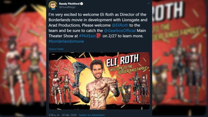 ボダラン3: イーライ・ロスを監督に迎えて映画化か、Gearbox CEOが告知ツイートを投稿したのちに削除