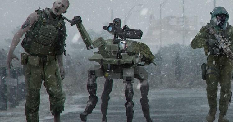 CoD:MW:幻となった「ゾンビモード」のコンセプトアート公開、四足歩行ロボットがゾンビを拘束