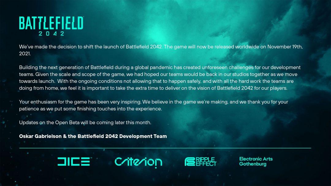 BF2042: 発売日が2021年11月19日となる約1ヶ月の延期を発表、オープンベータの日程は今月末に告知を予定