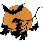 halloween moon and bats