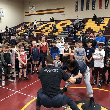 a kid's wrestling class