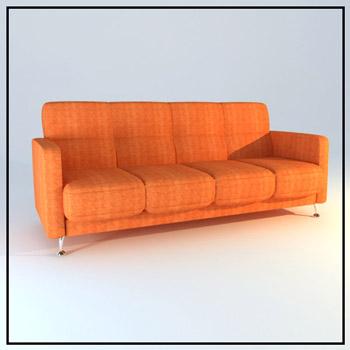 Sofa De Tissu Orange Modle 3D De Personnes 3D Model