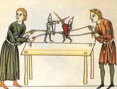 Hommes jouent avec marionettes:soldier puppets Hortus deliciarum