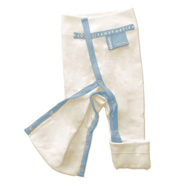 easy to wear blue denim organic bamboo Baby Trousers with fully opening legs