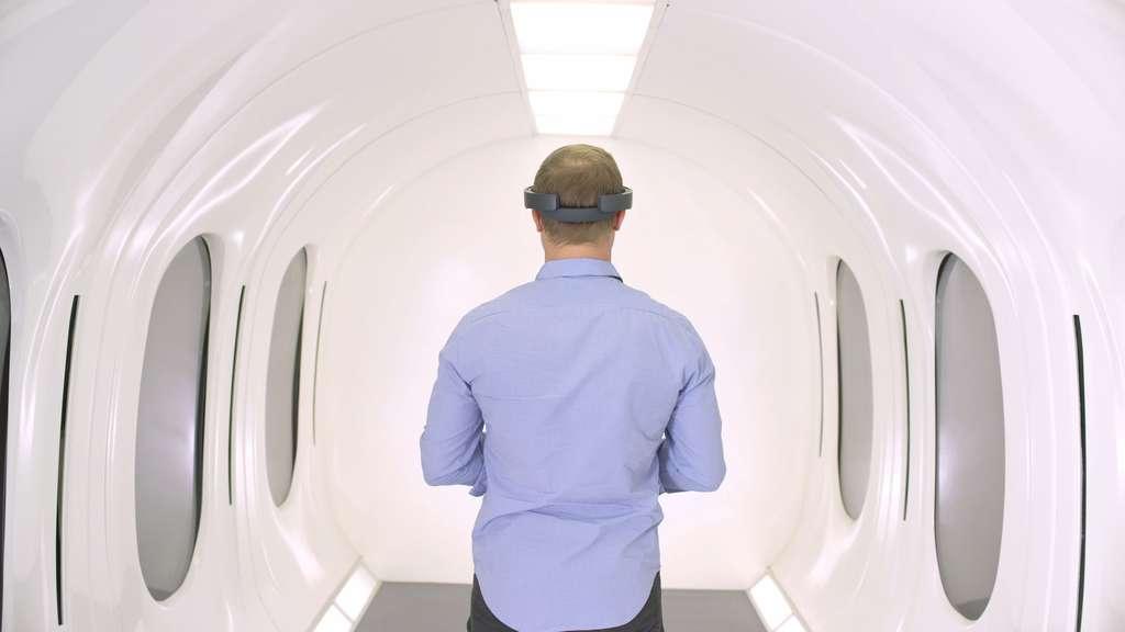 Voici une vue de l'intérieur de la capsule Hyperloop sur laquelle travaille Hyperloop Transportation Technologies. Les ouvertures sur les parois ne sont pas des fenêtres mais des écrans qui pourront diffuser des informations par réalité augmentée. © Hyperloop Transportation Technologies