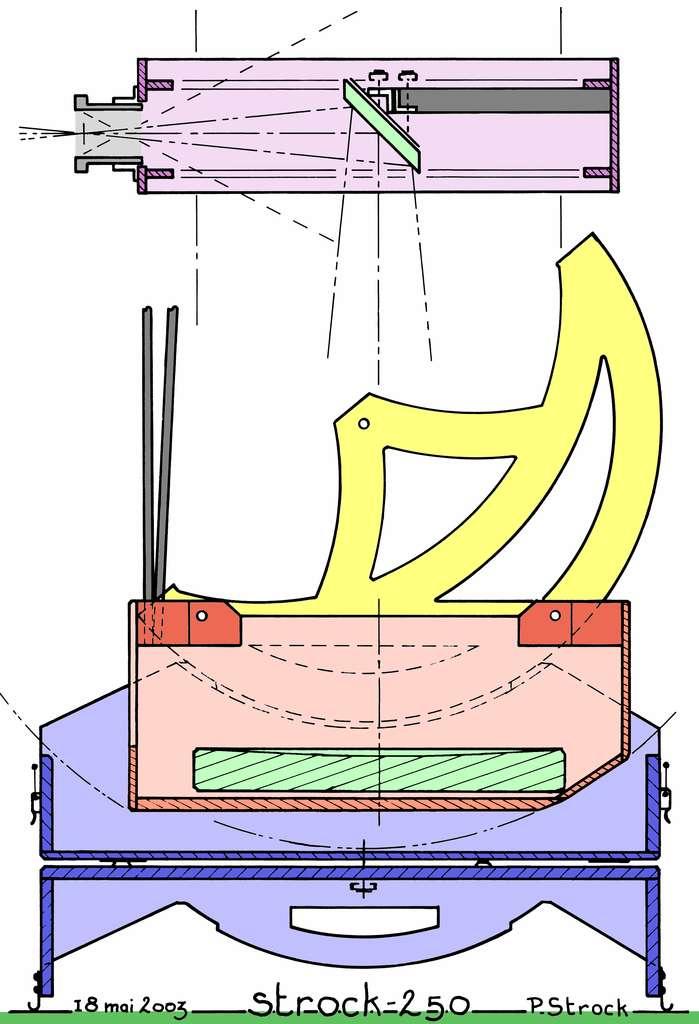 Un des deux schémas de conception du télescope. Le Strock-250 peut être emporté comme bagage de cabine en avion. © P.Strock.