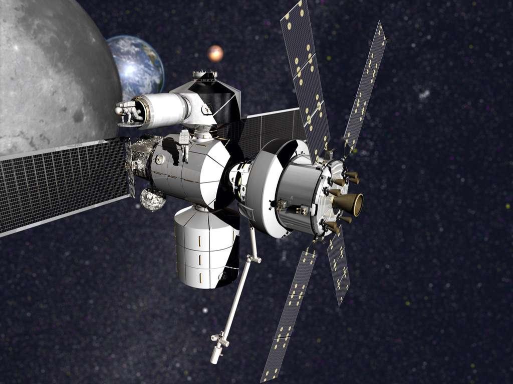 Concept de poste avancé en orbite cislunaire proposé par la société Lockheed Martin dans le cadre du programme NEXTStep de la Nasa. © Lockheed Martin