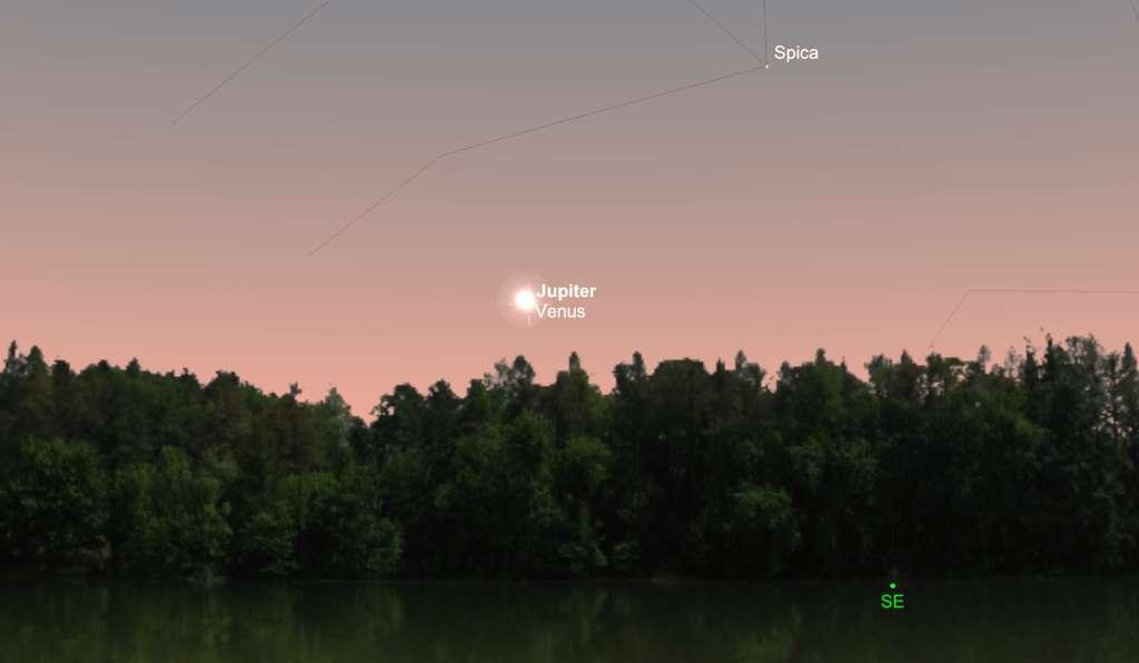 Capture d'écran de la conjonction de Vénus et Jupiter visible à l'aube, le 13 novembre. © SkySafari