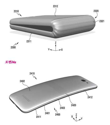 Voici l'une des représentations de smartphone à écran pliable issue du brevet Samsung. Le document porte principalement sur le système de charnière associé à un écran Oled flexible. © Samsung, KIPO