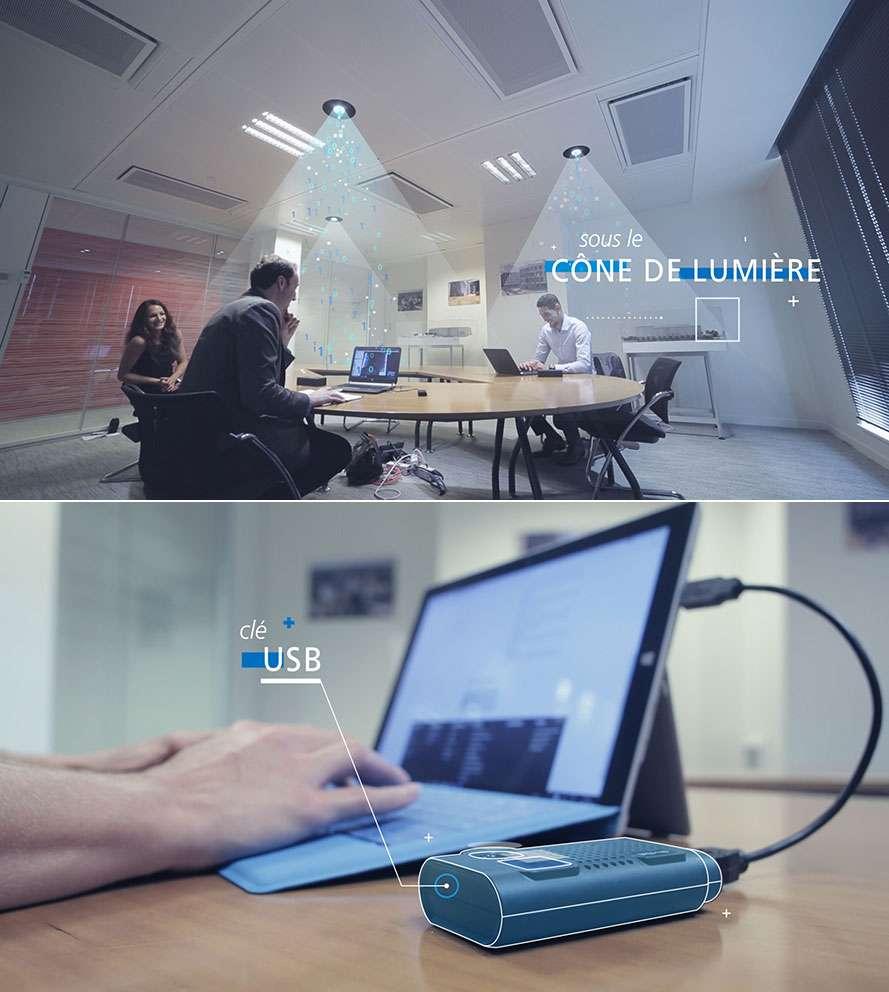 """Voici la version commerciale du dispositif Li-Fi de Lucibel. la photo supérieure nous montre le système d'éclairage Led au plafond dont le cône de lumière diffuse le signal haut débit. La photo du bas présente la """"clé USB Li-Fi"""" qui est en fait un boitier externe encore assez volumineux et sert à recevoir les données. Lucibel fait de la miniaturisation de cet accessoire et son intégration dans les terminaux une priorité pour s'attaquer au marché des particuliers.© Lucibel"""