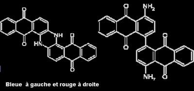 Anthraquinone bleue et rouge formules. © DR