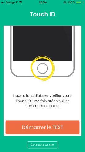 Test pour vérifier le touch ID