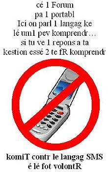 Poster contre le langage SMS écrit lui-même en langage SMS. CC-BY-20