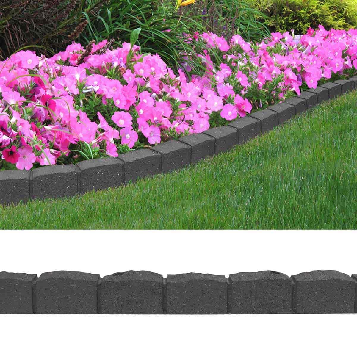 bordure de jardin effet paves 120cm caoutchouc recycle