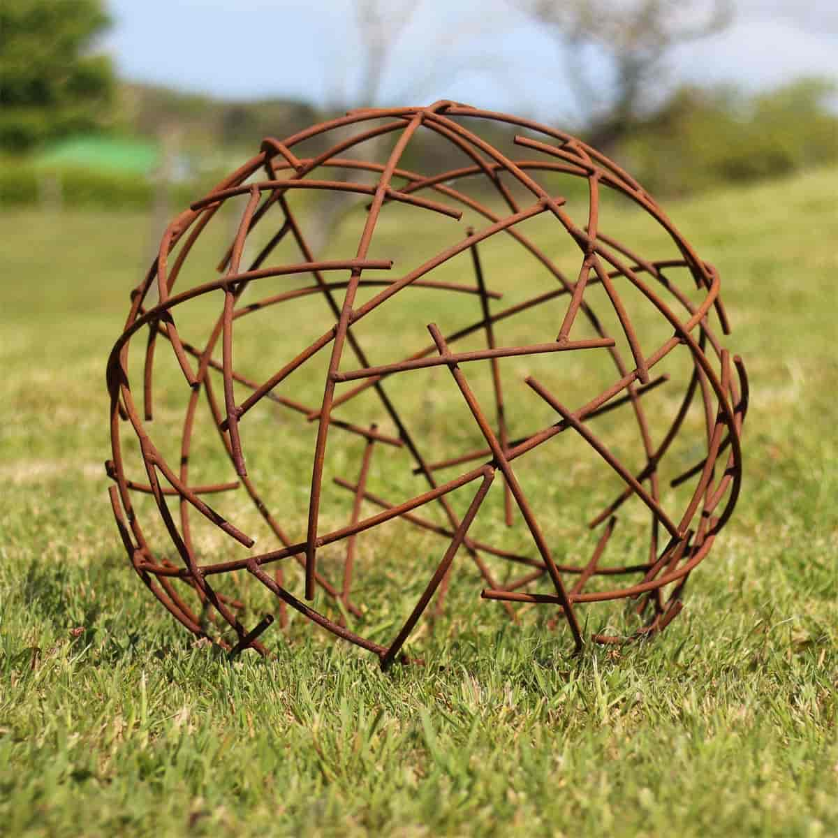 boule fil de fer deco jardin en metal diam 50cm