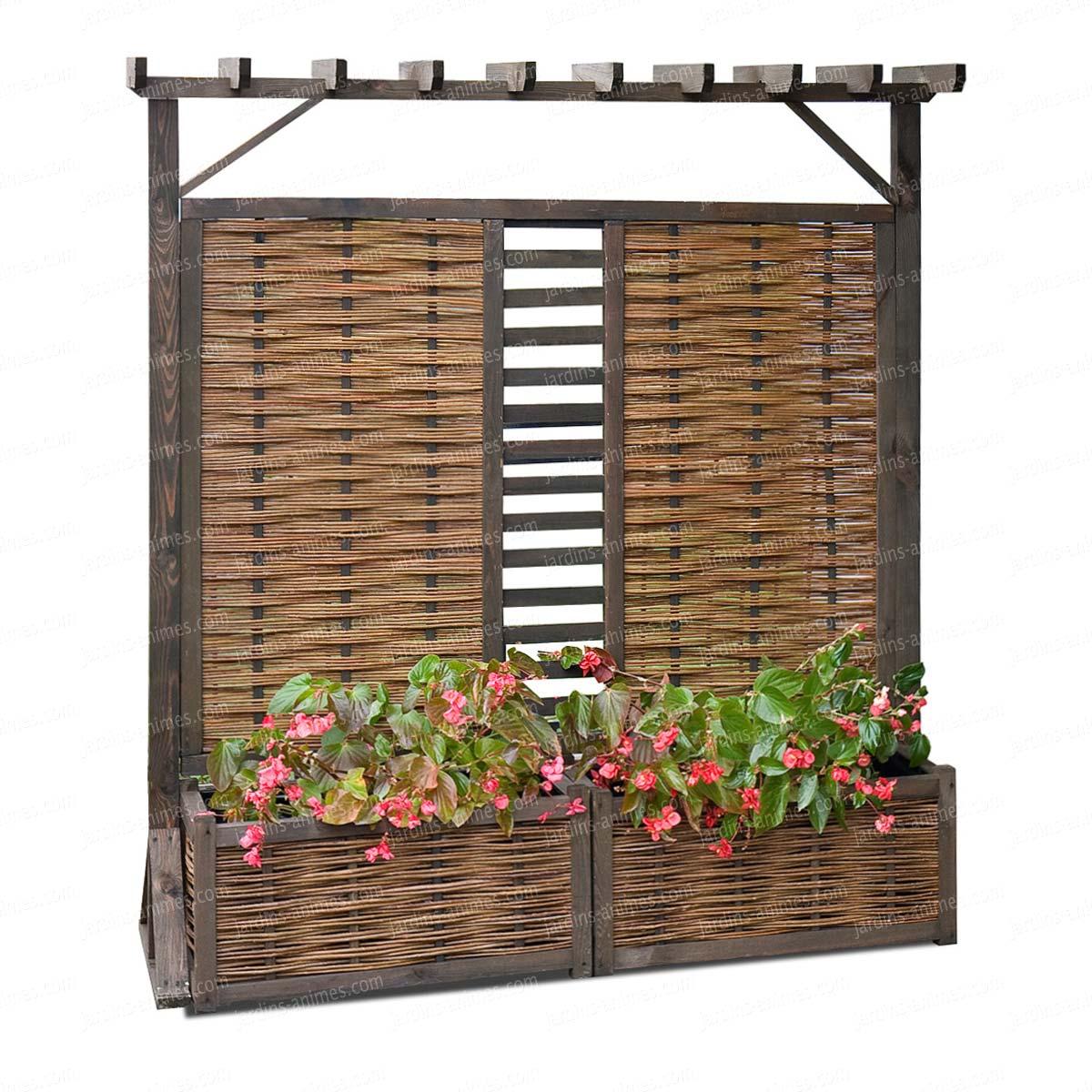 panneau pergola double jardiniere en osier et pin fsc