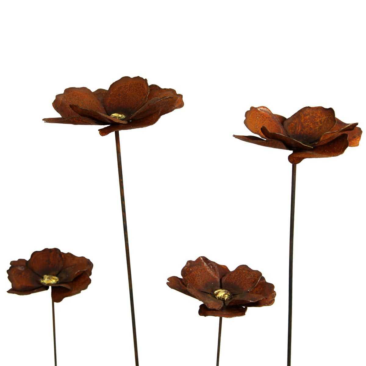 fleur de coquelicot a planter en metal rouille vente au meilleur prix jardins animes