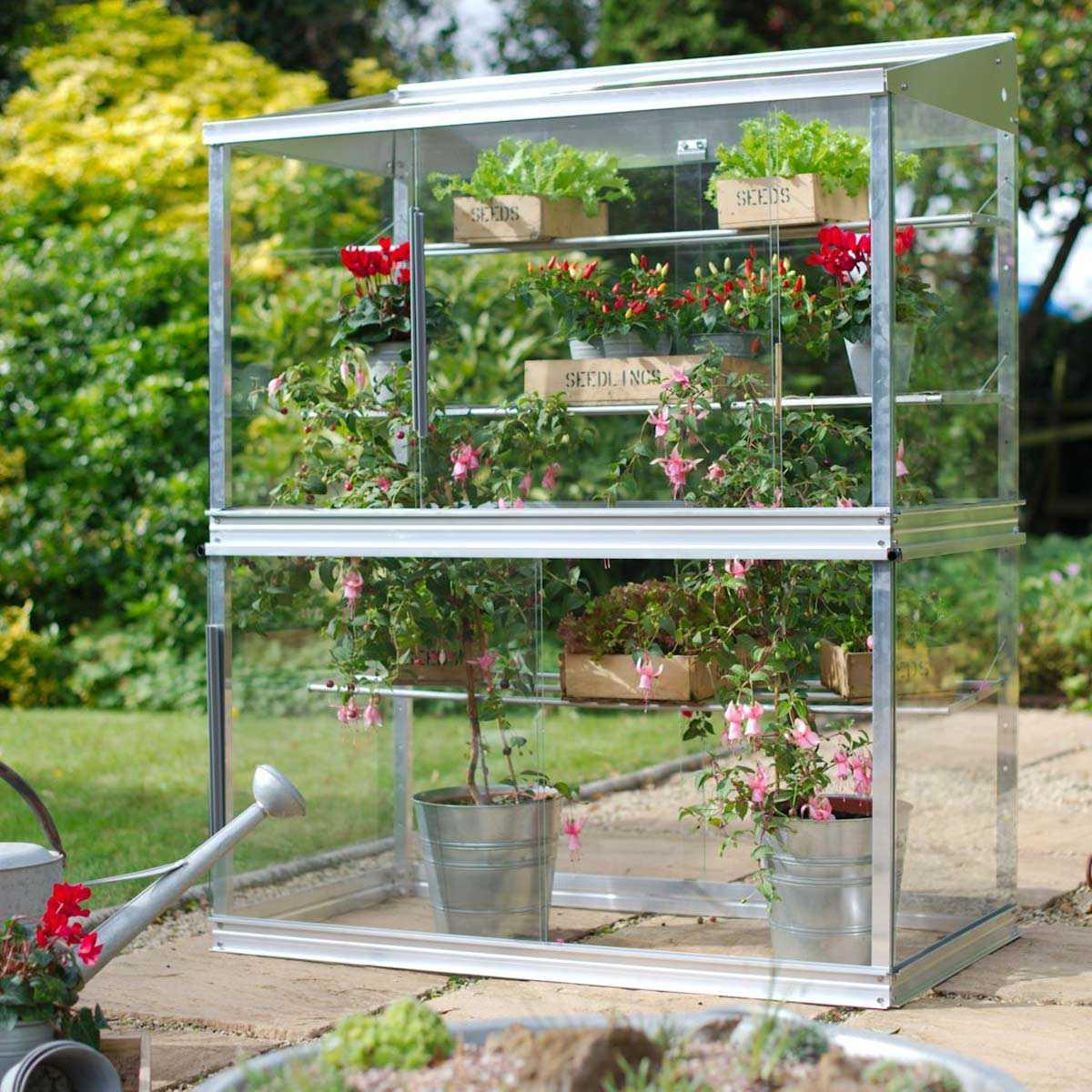 mini serre de jardin en verre et aluminium h 150cm vente au meilleur prix jardins animes
