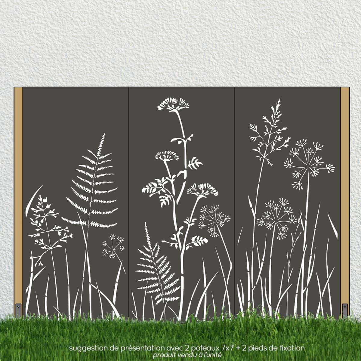 panneau decoratif exterieur en metal h 180cm motif fleurs vente au meilleur prix jardins