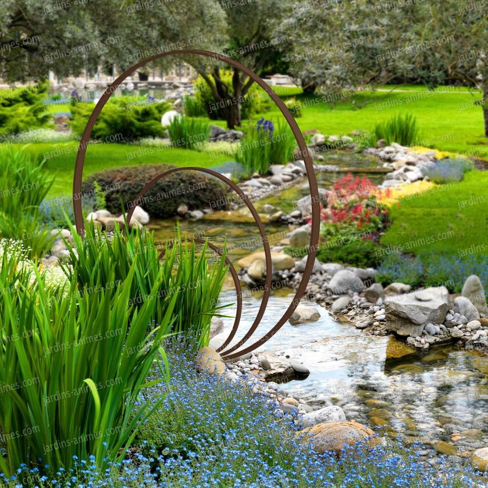 sculpture de jardin ronde anneaux de fer concentriques