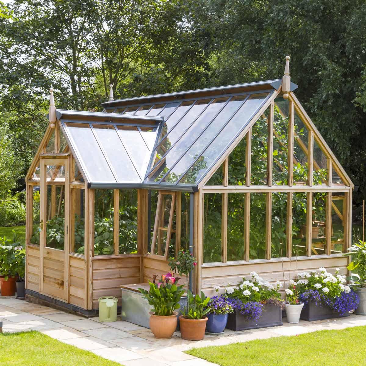 serre de jardin en bois portico gabriel ash 11 panneaux